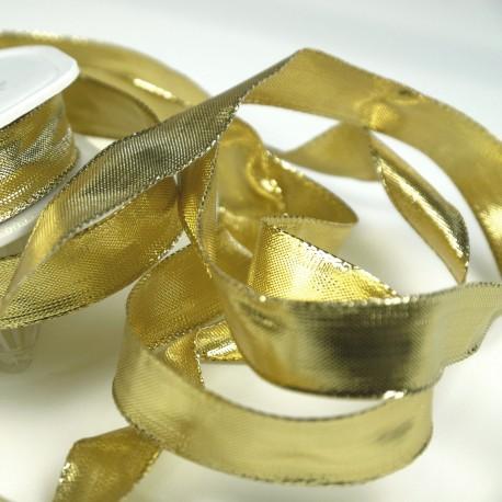 Ruban tissu doré 15mm