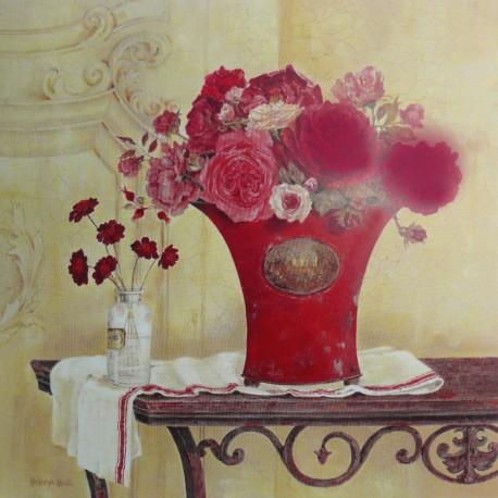 Carte d'art linen and roses
