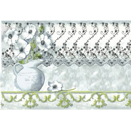 Papier de riz Stampéria Anémones avec dentelle 48x33cm