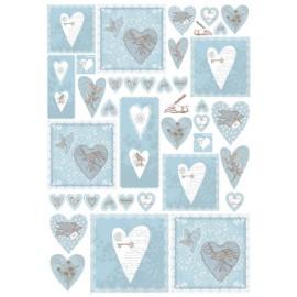 Papier de découpage Coeurs bleu clair 50x70cm