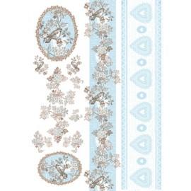 Papier de découpage Bordures coeurs bleu clair 50x70cm