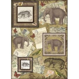 Papier de découpag Carnet de voyage avec éléphant 50x70cm