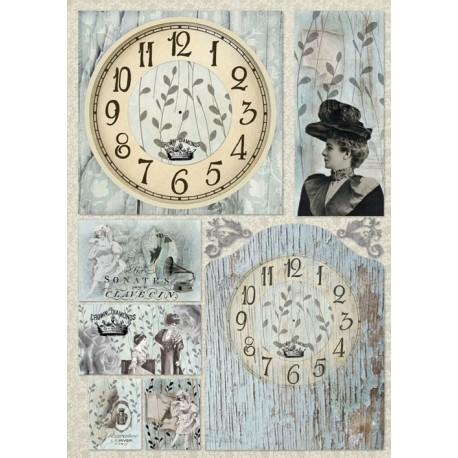 Papier de découpage Stampéria horloge vintage
