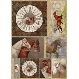 Papier de découpage Stampéria horloge chevaux
