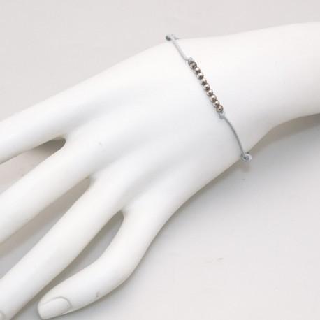 Bracelet fantaisie Enomis lien gris argent 925/1000