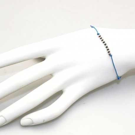 Bracelet fantaisie Enomis lien bleu argent 925/1000