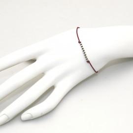 Bracelet fantaisie Enomis lien rouge carmin perle argent 925/1000