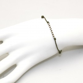 Bracelet fantaisie Enomis lien kaki argent 925/1000