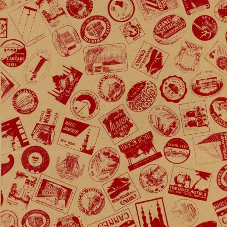 Papier fantaisie globe trotter kraft rouge