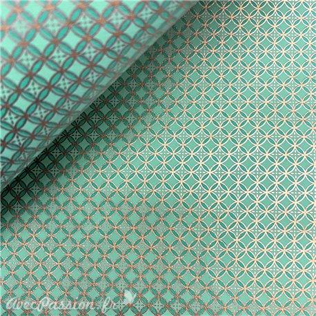 Papier fantaisie shiyogami aqua or