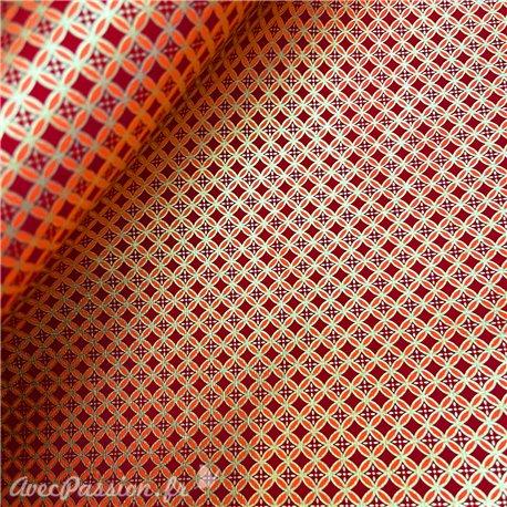 Papier fantaisie shiyogami rouge orangé