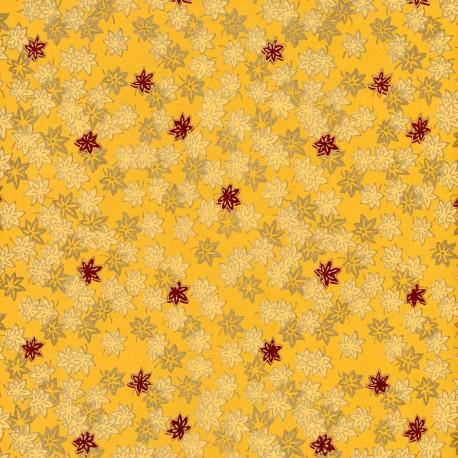 Papier fantaisie decora sakura jaune rouge et or