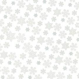 Papier fantaisie indien blizzard blanc flocons argent