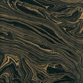Papier marbré noir et or