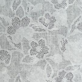 Papier fantaisie dentelle fleurs blanc