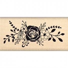 Tampon bois fleurs bouquet de roses