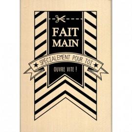 Tampon bois étiquette fanion fait main