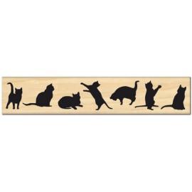 Tampon bois bordure de petits chats - féline