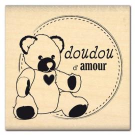 Tampon bois naissance doudou d'amour