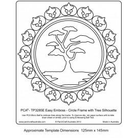 Template parchemin cercle avec une silhouette d'arbre