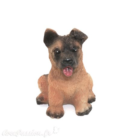 Miniature vitrine chien noir et feu 3x3.5cm