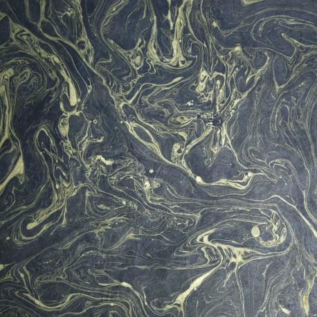Papier népalais lokta marbré noir or