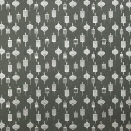 Papier fantaisie gris anthracite lanternes argent