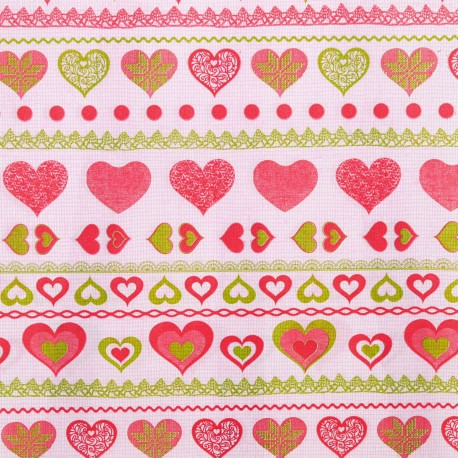 Feuilles décopatch motifs fond rose coeurs rouge et vert