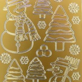 Sticker peel off adhésif or bonhomme neige