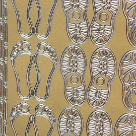 Sticker peel off adhésif or empreintes pieds