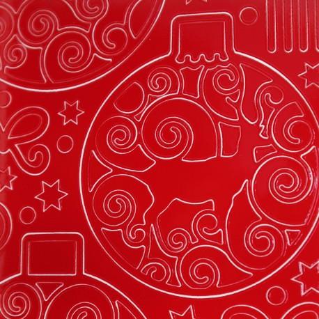 Sticker peel off adhésif rouge boules de Noel