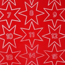 Sticker peel off adhésif rouge calendrier de l'avent