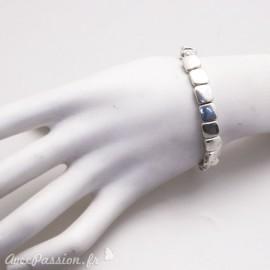 Bracelet fantaisie Ubu argent élastique carrés plats