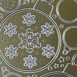 Sticker peel off adhésif or boules flocons et coeurs de Noel