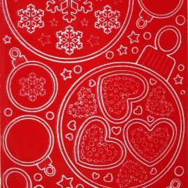 Sticker peel off adhésif rouge boules flocons et coeurs de Noel