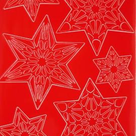 Sticker peel off adhésif rouge étoiles