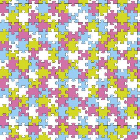 Feuilles décopatch motifs puzzle bleu vert fuschia et blanc