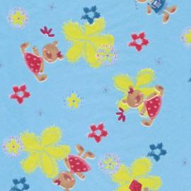 Feuilles décopatch fond turquoise fleurs jaune fuschia et nounours
