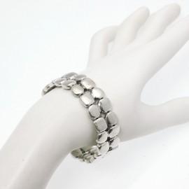 Bracelet fantaisie Ubu argent élastique carré rond 2 rangs