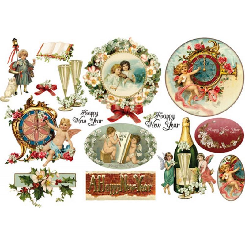 Papier De Riz Décoration papier de riz stamperia découpage décoration happy new year champagne