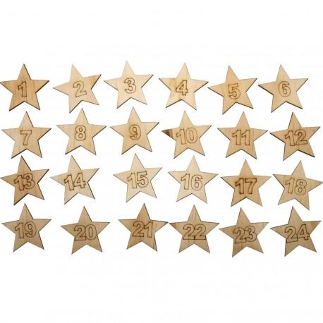 Stickers adhésifs étoiles en bois de 1 à 24