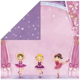 Papier scrapbooking réversible glitter ballet