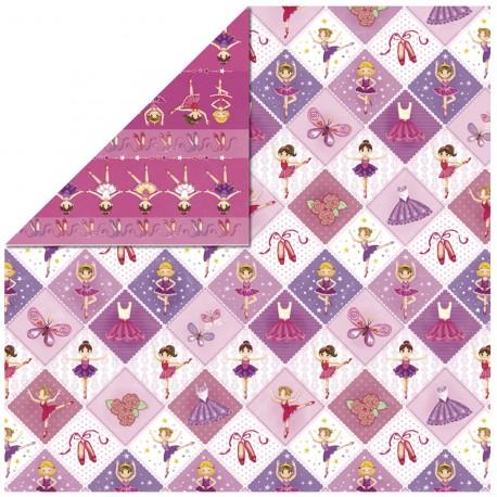 Papier scrapbooking réversible glitter carrés