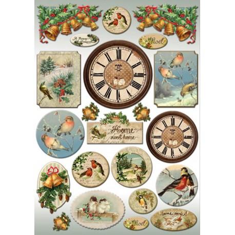 Papier de découpage Stampéria horloges et oiseaux