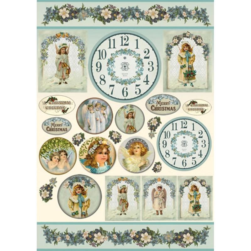 Papier d coupage stamperia horloges d cor anges no l loisirs cr atifs - Decoupage papier deco noel ...