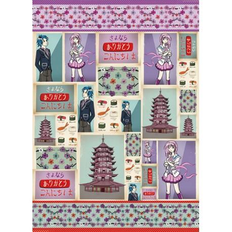 Papier de découpage Stampéria pagode