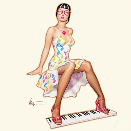 Carte postale Patrick Hitte piano girl