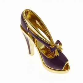 Chaussure miniature de collection saloma monica violet et or