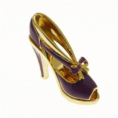 Chaussure miniature de collection saloma monica violet et or