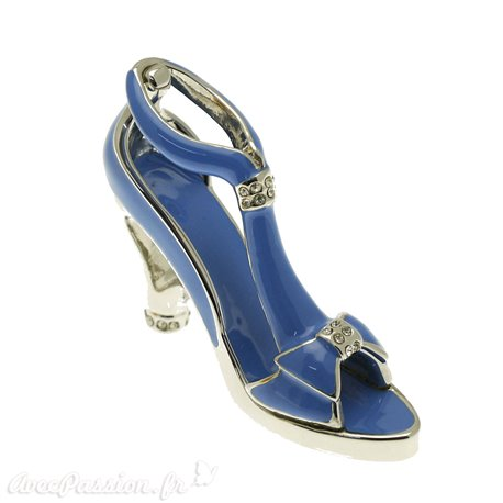 Chaussure miniature de collection saloma sophia bleu et argent